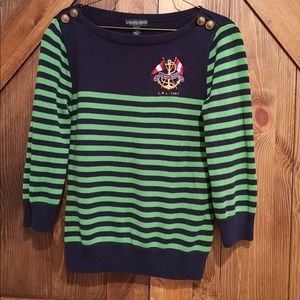 Nautical Navy and green sweater by Ralph Lauren